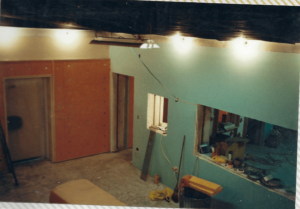 Later in the construction process of the studio room